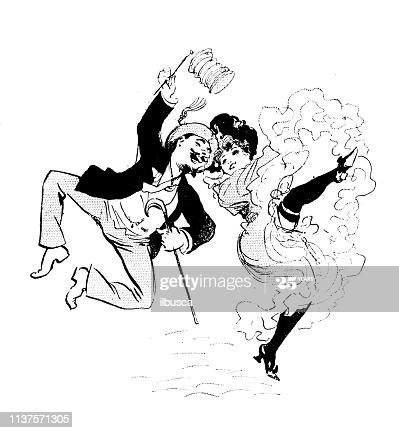 Antique humor cartoon illustration: Dancing couple