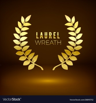 Golden shiny award sign. Laurel wreath on dark background. Vector illustration
