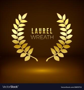 Golden shiny award sign. Laurel wreath on dark background. Vector illustration