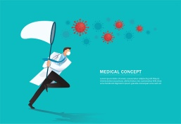 doctor holding a butterfly net try to catch virus , COVID-19 outbreak medical vector illustration EPS10