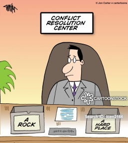 An office worker at the conflict resolution center is stuck between a rock and a hard place.