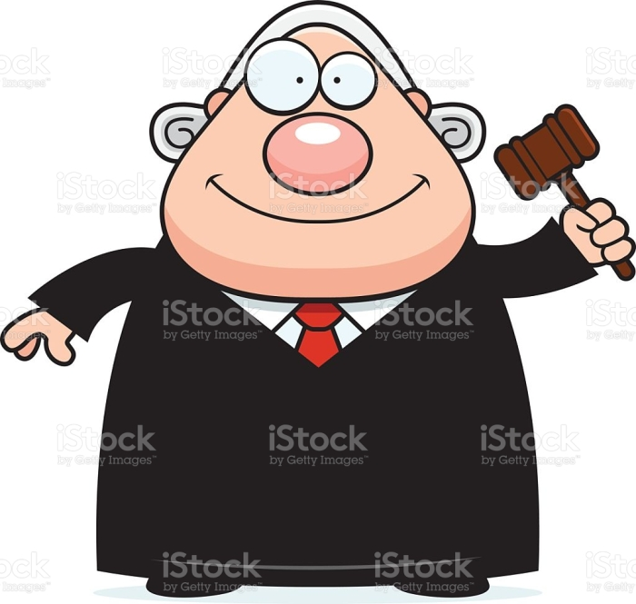 A cartoon illustration of a judge holding a gavel.